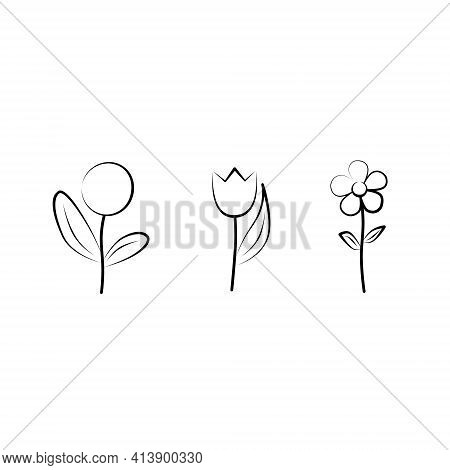 Set Of Flowers - Dandelion, Tulip, Chamomile. Outline Drawing. Nature, Flora. Simple Linear Sketch.