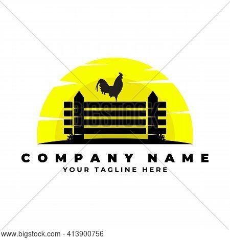 Farm Fresh Rooster Logo Vector Illustration Design, Silhouette Rooster Logo