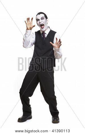 Man In Dracula Fancy Dress Costume