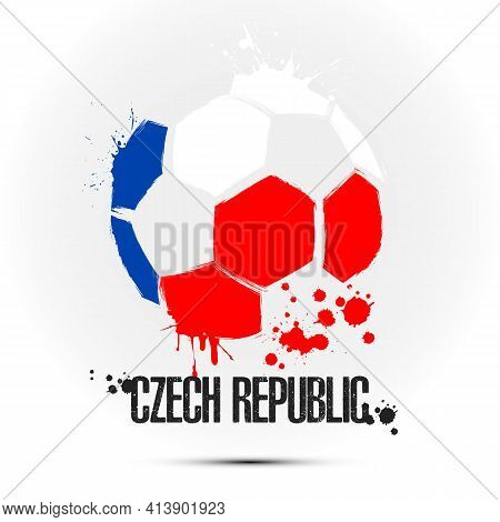 Soccer Ball With Czech Republic Flag Colors
