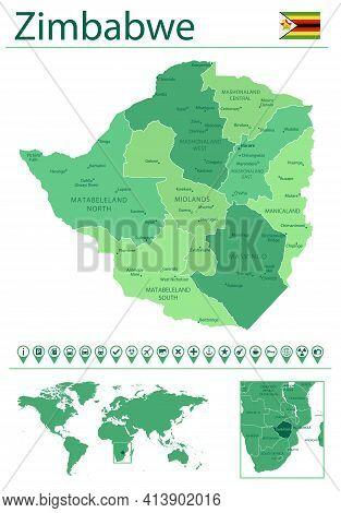 Zimbabwe Detailed Map And Flag. Zimbabwe On World Map.