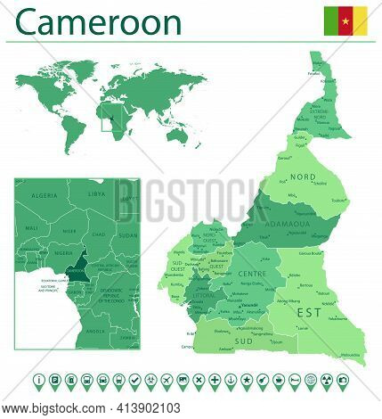 Cameroon Detailed Map And Flag. Cameroon On World Map.