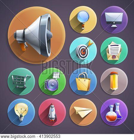 Successful Business Innovative Digital Marketing Concept Principles Symbols Flat Icons  Set Round Ab
