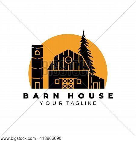 Barn House Logo Vintage Vector Illustration Design, Wooden Barn