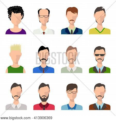 Men Avatar Set Flat Vector Illustration. Men Profiles Silhouette With Variety Of Suits And Uniform.