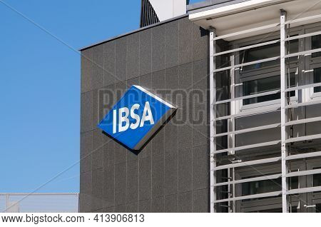 Lugano, Ticino, Switzerland - 18th March 2021 : Ibsa Group Sign Hanging On The Headquarters In Lugan