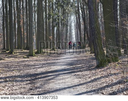 Czech Republic, Prague, March 7, 2021: Path In Kunraticky Les Forest Park With Bare Trees And Group
