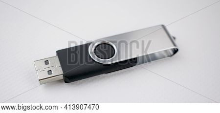 Memory Unit With Usb Connection For Data Storage, Metal And Satin Plastic, Black, On White Backgroun