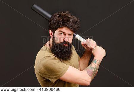 Bearded Man With Baseball Bat. Serious Man Ready To Swing. Baseball Player With Baseball Bat.