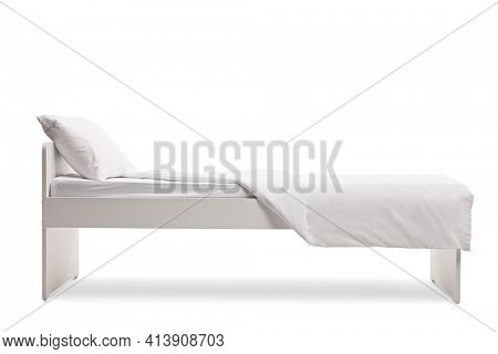 White single bed with a duvet cover isolated on white background
