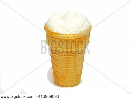 Waffle Cup Of Cream Ice Cream Isolated On White Background.traditional Russian Ice-cream