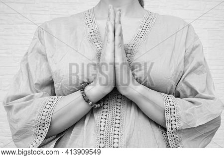 Woman Ethnic Clothes Hold Hands Together Is Symbol Prayer And Gratitude, Wai Or Namaste Gesture, Sig