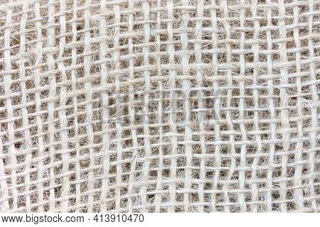 Natural Macro Sackcloth Textured Material For Background.