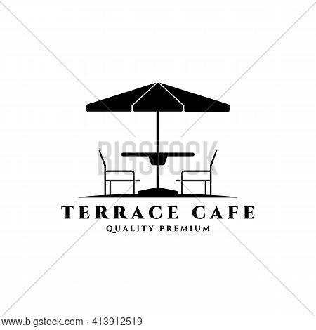 Terrace Cafe Logo Vector Line Art Vintage Illustration Design, Icon Symbol Cafe