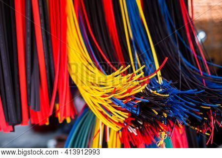 Bangkok, Thailand - March 23, 2021:selective Focus To Many Colorful Of Polyolefin Tubing Or Polyolef