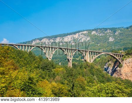 Durdevica Tara Arc Bridge In The Mountains Of Montenegro. One Of The Highest Automobile Bridges In E