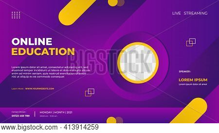 Website Banner Template For Online Education, E-learning, Conference Event Etc. With Purple And Yell