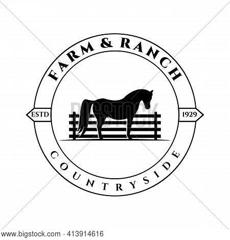 Farm And Ranch Logo Vector Illustration Design, Fence Horse Logo Vintage