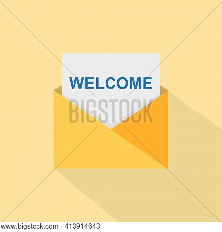 Welcome Concept With Open Envelope. The Letter Reads Welcome. Vector Illustration