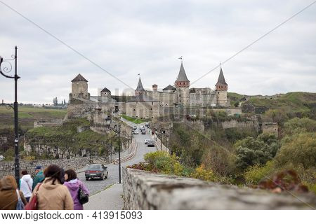 Kamyanets Podolsky, Ukraine - October 17, 2020:  Scenic Autumn View Of Ancient Fortress Castle In Ka