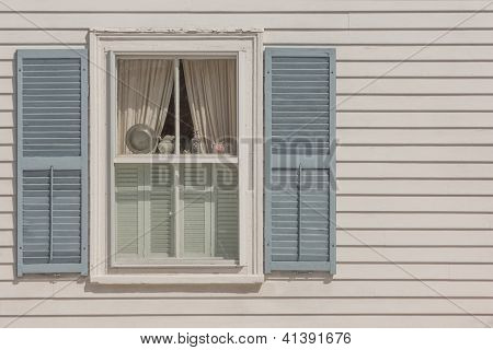 Window of New England historic house in Rockport poster