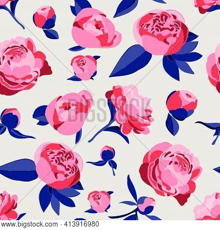 Vector Seamless Pattern. Floral, Botanical Concept. Pink Peonies Or Roses. Decorative Peony In The S