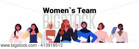 Businesswomen Leaders In Formal Wear Standing Together Successful Business Women Team Leadership Con