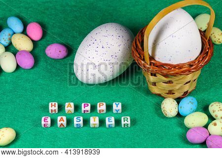 Happy Easter Speckled Candy Eggs With Weave Basket