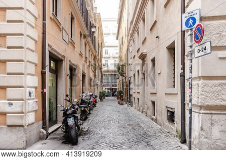 Rome. Italy. Spring 2020. Medieval Houses In The Heart Of Rome.