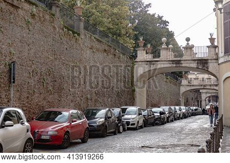 Rome. Italy. Spring 2020. Parking Under The Garden Walls In The Center Of Rome.