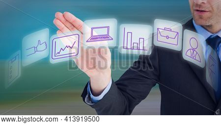 Composition of network of digital icons on white squares over hand of businessman. global technology and digital interface concept digitally generated image.