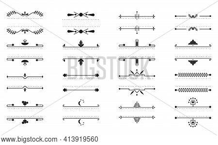 Set Of Text Frames Thin Line. Graphic Decorative Element In Art Deco, Retro, Floral Ornament Design