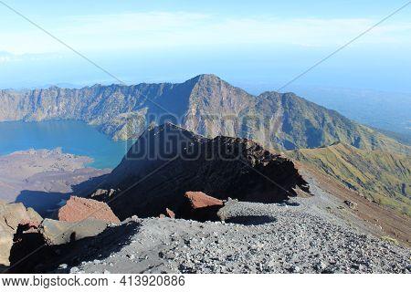 Rinjani Mountain And Gunung Baru Jari Mountain, Lombok-indonesia.