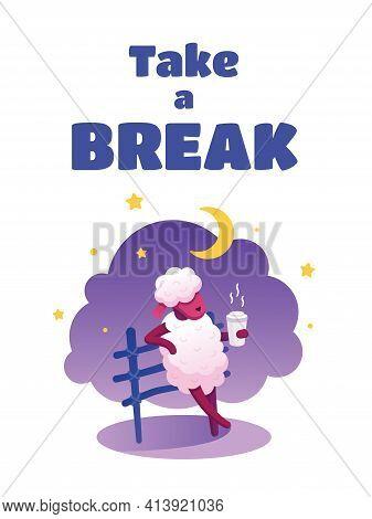 Vector Flat Digital Children's Illustration, Postcard, Banner, Template, On The Theme Of A Break Fro