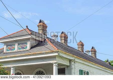 New Orleans, La - August 9: Chimney And Roof Of Historic Home In Uptown Neighborhood On August 9, 20