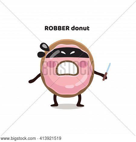Funny Flat Kid's Digital Illustration, Sticker, Emoji, Character, Mascot Of Pink Glazed Bandit, Robb
