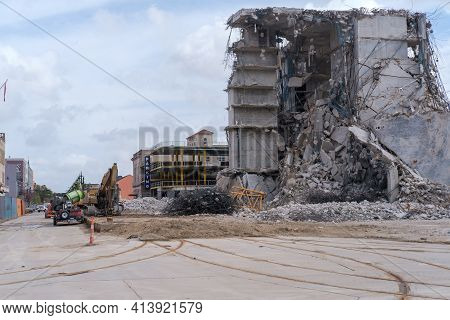 New Orleans, La - February 28: Remains Of Collapsed Hard Rock Hotel On Rampart Street On February 28