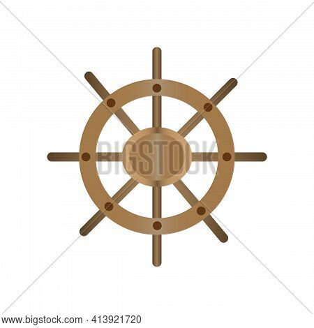 The Steering Wheel Is A Ship's Steering Wheel. Sign. For Design And Textures. Illustration.
