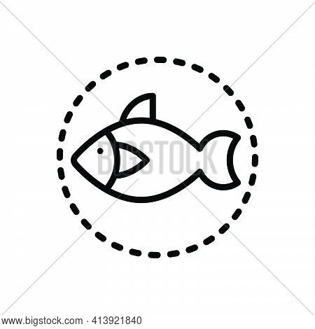 Black Line Icon For Creatures Animal Critter Living-thing Aquatic Fish