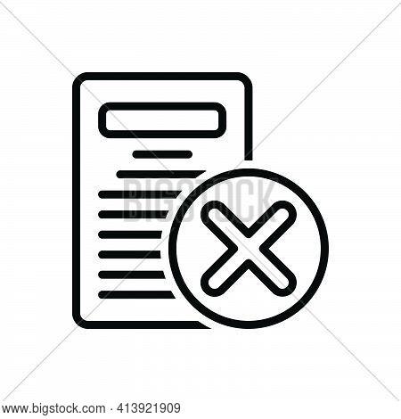 Black Line Icon For Eliminate Delete Remove Cancel Cut-out Document