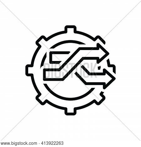 Black Line Icon For Changed Switch-services Transit Change Move Transformation Changeover Progress R