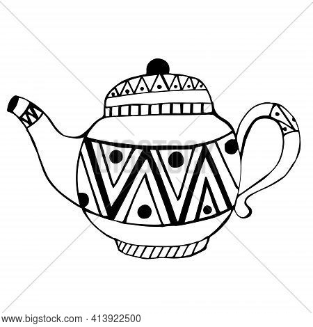 Teapot vector illustration. The isolated object on a white background. Teapot with a pattern, black outline. Doodle illustration, one teapot.