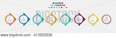 Business Infographics Template. Timeline With 8 Steps, Options And Marketing Icons .vector Linear In