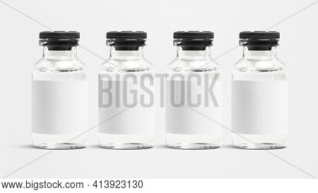 Medicine glass vials with blank white label