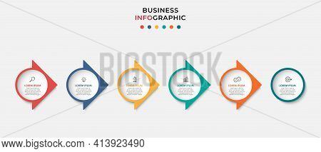 Business Infographics Template. Timeline With 6 Steps, Options And Marketing Icons .vector Linear In