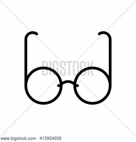 Black Line Icon For Glasses Spectacles Eyeglasses Protection Vision Optical Frame
