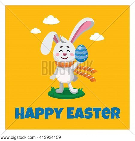 Vector Illustration, Banner, Poster, Greeting Card Of Cartoony Easter Bunny, Rabbit With An Colourfu