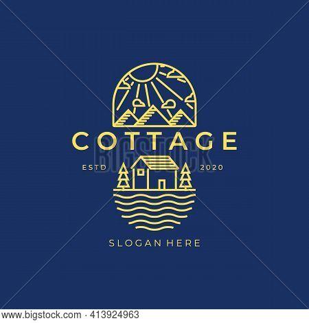 Cottage Line Art Logo Vector Illustration Design, Mountain River Pine Tree Line Art , Or Cabin Line