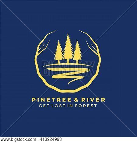 River Tree Vintage Logo Vector Illustration Design, Pine Tree And River
