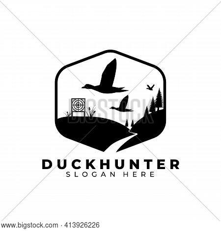 Duck Hunt Logo Vector Template Illustration Design, Duck Hunter Vintage Logo , Pine Tree Logo